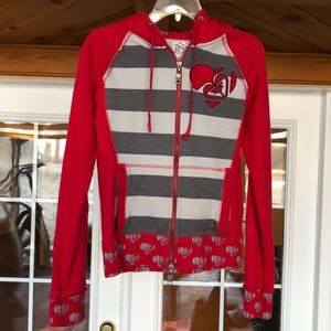 Roxy full zip hoodie gray red striped lounge Med
